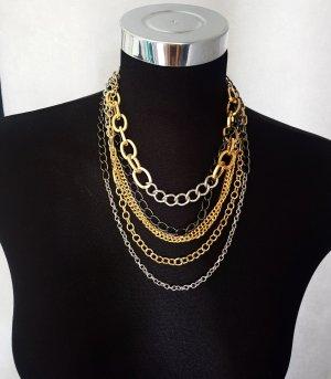 Tillberg Statement Kette Halskette mehrreihig tricolor Gold-Silber-Bronze