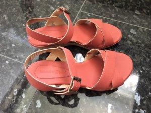 Timberland Platform High-Heeled Sandal bright red leather