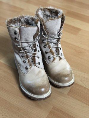 Timberland Boots, Schnürstiefel, Leder, Fell