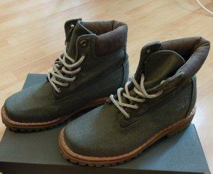 Timberland boots stiefel schnürstiefel grau khaki neu