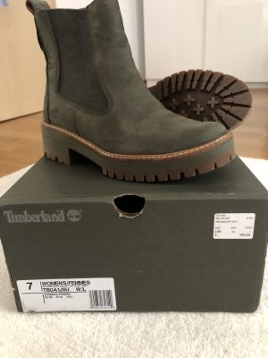 Timberland Platform Booties olive green leather