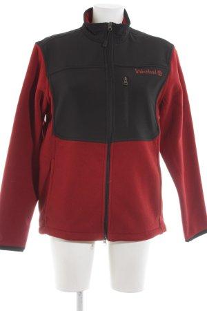 Timberland Fleecejacke rot-schwarz Schriftzug gestickt sportlicher Stil