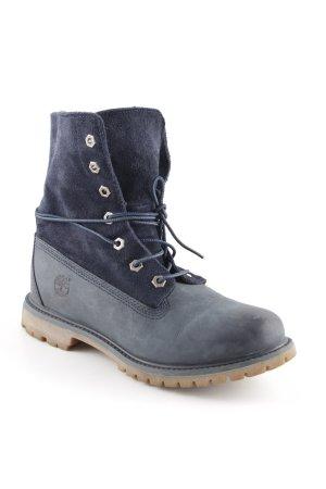 Timberland Schnür-Stiefeletten blau-graublau Street-Fashion-Look