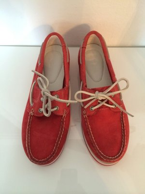 Timberland Moccasins brick red leather