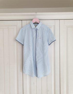 Timeout XS weiß hell blau bluse hemd top buisness büro Streifen T-Shirt Tshirt Shirt pulli pullover