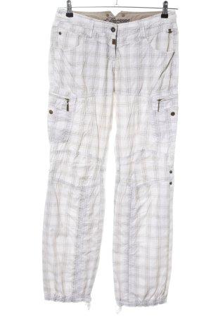 Timezone Pantalone cargo bianco-grigio chiaro motivo a quadri stile casual