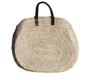 Bolso tipo cesta negro-beige claro materiales reciclados