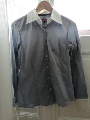 Chemise à manches longues blanc-bleu foncé coton