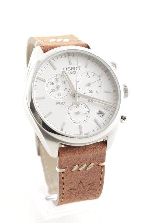 Tissot Montre avec bracelet en cuir brun-argenté style décontracté