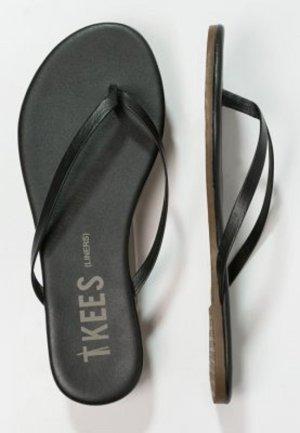 High-Heeled Toe-Post Sandals black leather