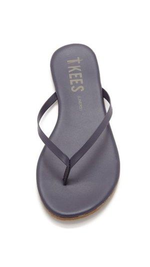 High-Heeled Toe-Post Sandals dark blue leather