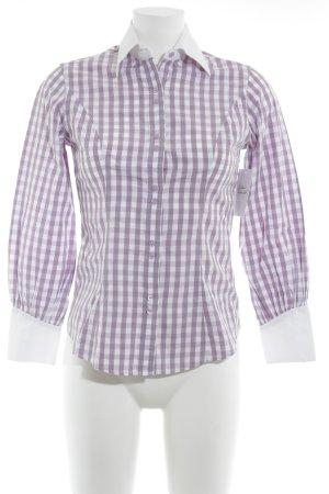 TM Lewin Camisa de manga larga blanco-malva estampado a cuadros estilo country