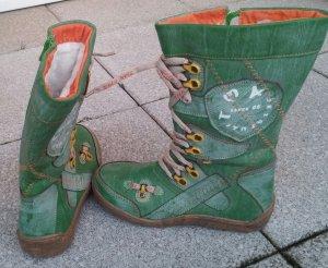 TMA Damen Leder-Siefel, grün, Gr. 37