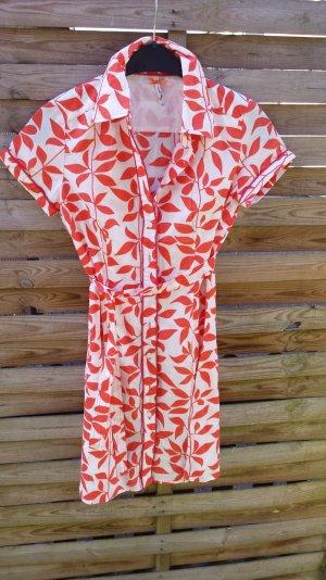 To Pepe Jeans Kleid Sommerkleid  Hemdblusenkleid  Minikleider Orange Muster Gr S