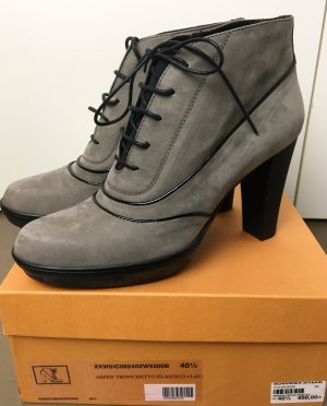 * TOD`S * Ankle Boots  Booties Heels Stiefeletten Wildleder grau taupe Schnürer Gr 40,5 ( D 41)