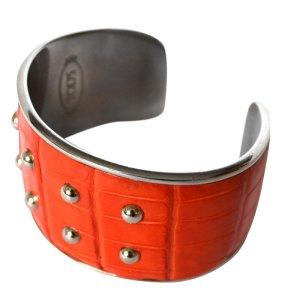 TOD'S Armband, Orange und Silber
