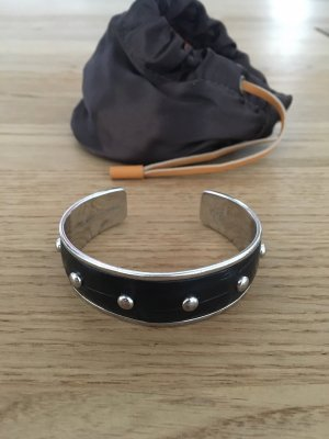 Armlet black-silver-colored leather