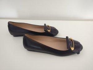 Tod's Ballerina di pelle verniciata marrone-viola-viola scuro