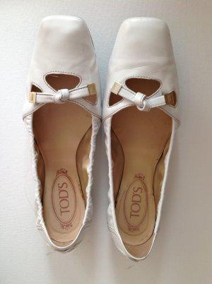 Tod's Mary Jane Ballerinas white leather