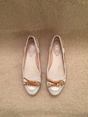 TOD'S_Ballerina_weiß/orange