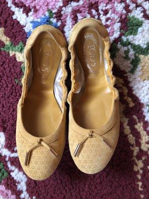 Tod's Ballerinas Senfgelb 38,5 mit Schleife Schuhe