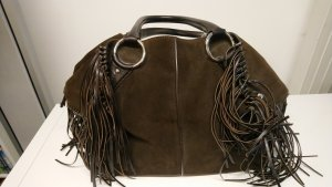 Tod's Fringed Bag dark brown suede
