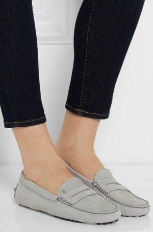TOD'S Gommino Loafers aus Nubukleder Tod`s Loafer in Grau Slipper