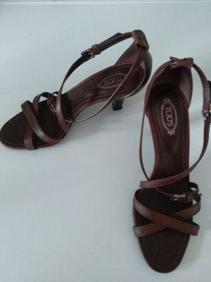 Tod's Sandalo con cinturino e tacco alto marrone-rosso-bronzo