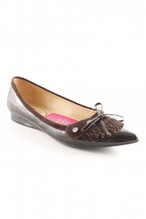 Tod's Patent Leather Ballerinas black brown country style
