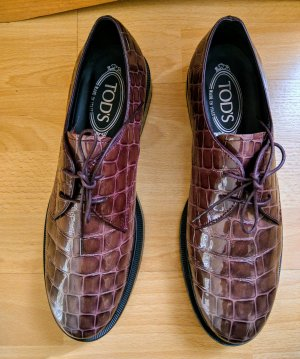 Tod's Lace Shoes purple-brown leather