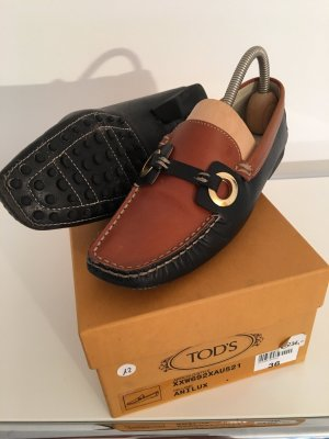 Tod's Slippers cognac-coloured-blue leather