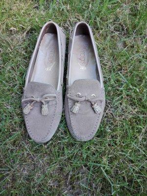 Mocassins gris brun-chameau cuir