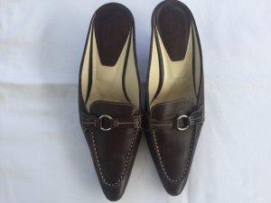 Tod's Heel Pantolettes black brown leather