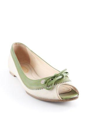Tod's Peeptoe Ballerinas grasgrün-graugrün Vintage-Look