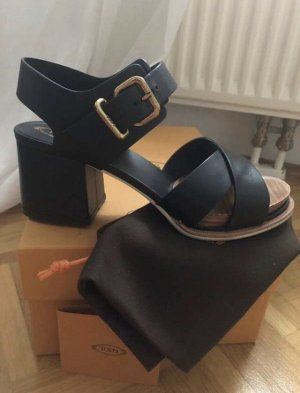 Tod's Sandales à plateforme noir-brun cuir