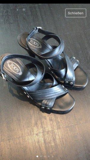 Tod's Plateauzool sandalen zwart-zilver