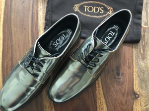 Tod's Wingtip Shoes silver-colored-gold-colored leather