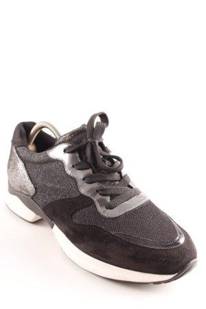 Tod's Schnürsneaker schwarz-silberfarben extravaganter Stil