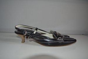 Tod's Sandalias de tacón de tiras negro Cuero