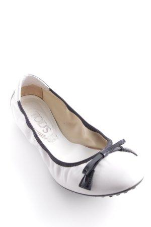 Tod's Ballerine à bride arrière gris clair-noir style romantique