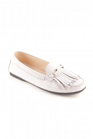 "Tod's Slippers ""Double T Fringed Moccasin Nubuck Light Grey 37"""