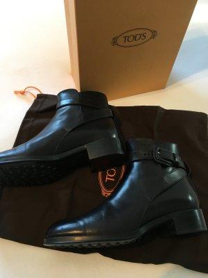 TOD'S Stiefeletten in schwarzem Glattleder in Größe 37