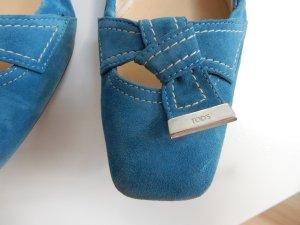 Tod's Velourlederballerinas, blau Gr. 39,5