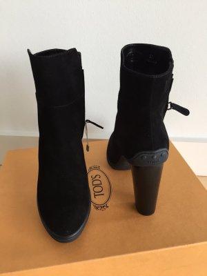 TOD'S Wildleder Stiefelette Stiefel Boots schwarz NEU OVP