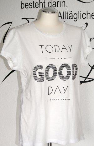 """""""Today is a good day"""" - Neuwertiges weißes T-Shirt mit Print (fällt größer aus)"""