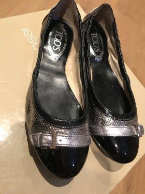 Tod's Ballerina di pelle verniciata nero-argento