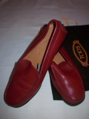0039 Italy Chaussures basses rouge foncé cuir