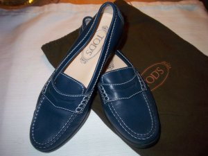 0039 Italy Chaussures bleu foncé cuir