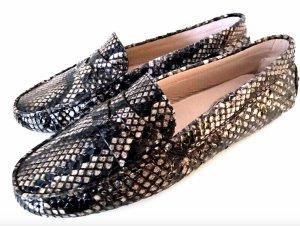 Tods Schuhe Mokassins Grau Braun Python Leder Slipper Loafer 38,5 TOD'S