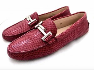 Tods Schuhe Mokassins Magenta Rot Pink Python Leder Slipper Loafer 38 TOD'S